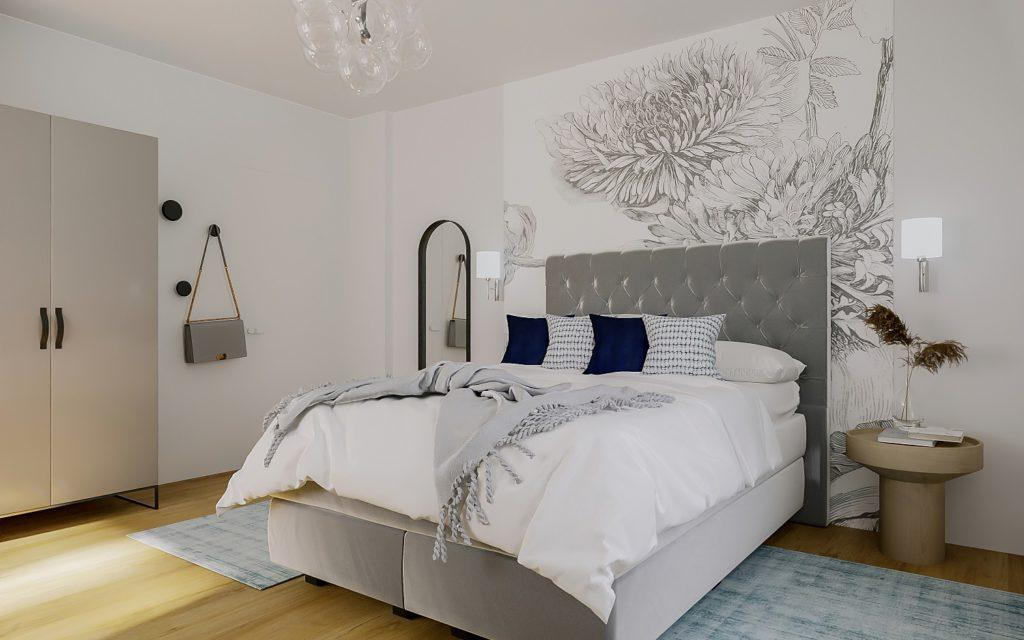 Hoteleinrichtung Zimmer Bett Tapete Grau
