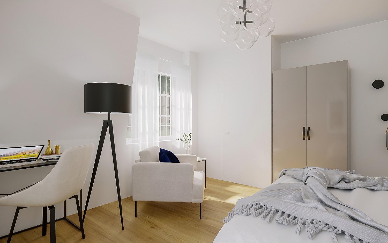 Hotelzimmer einrichten Zimmer Sessel Lampe
