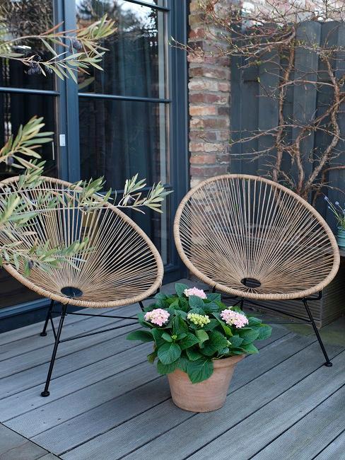Zwei Acapulco Chair im Garten