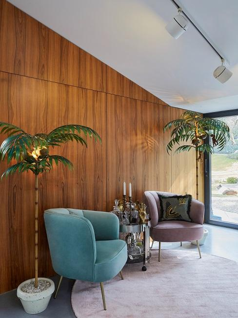 Samt Moebel Sessel Pflanzen Holz