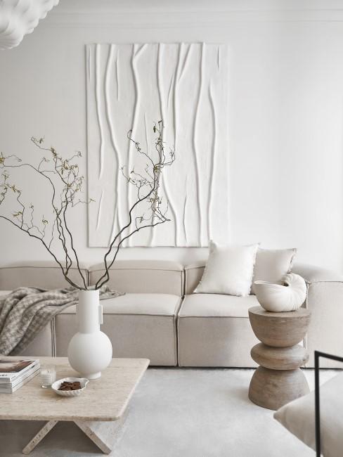 Wohnzimmer im Scandi Stil mit Textured Canvas Art