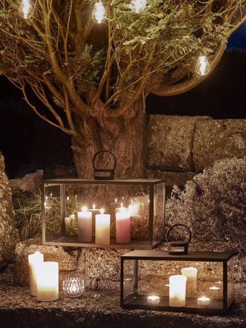 Kerzen, Windlichter und Lichterkette für draußen