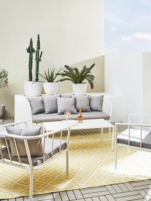 Gelbe Wand hinter Pflanzen und Sitzecke