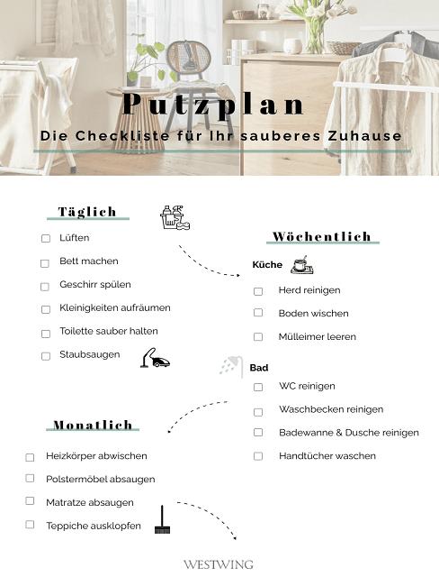 Putzplan Vorlage für Zuhause zum Download