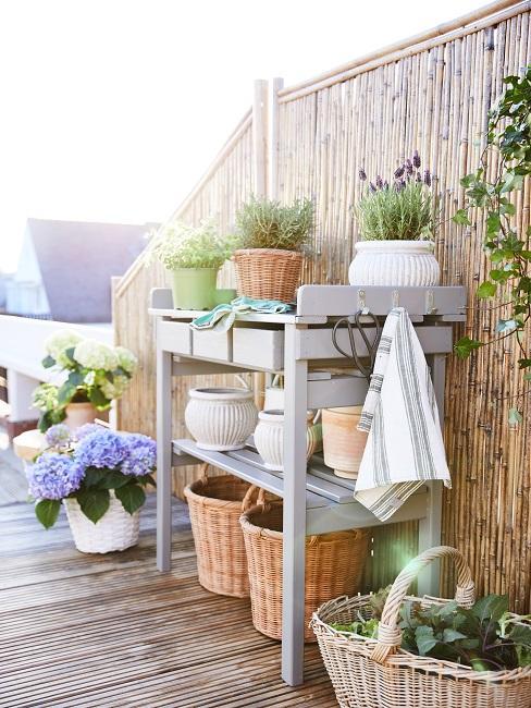 Balkon mit Pflanztisch