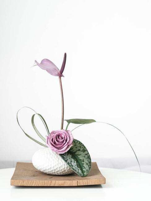 Ikebana mit lila Rose und Flamingoblume in Lila