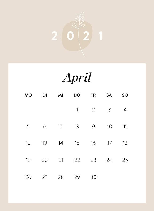 Monatskalender April 2021