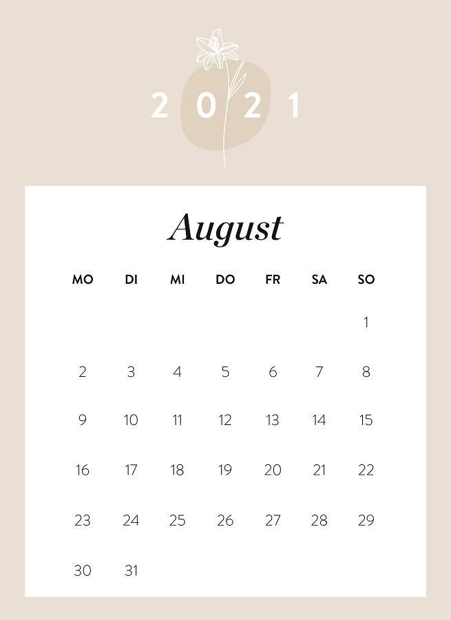 Monatskalender August 2021