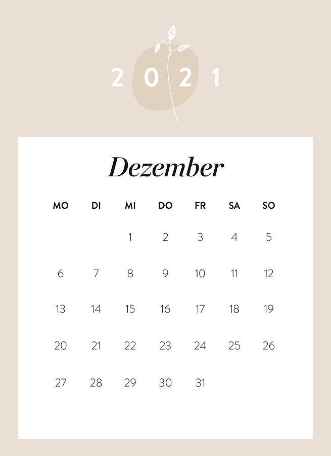 Monatskalender Dezember 2021