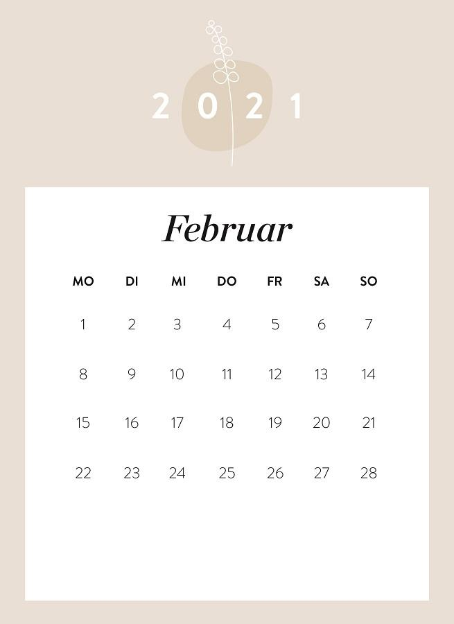 Monatskalender Februar 2021