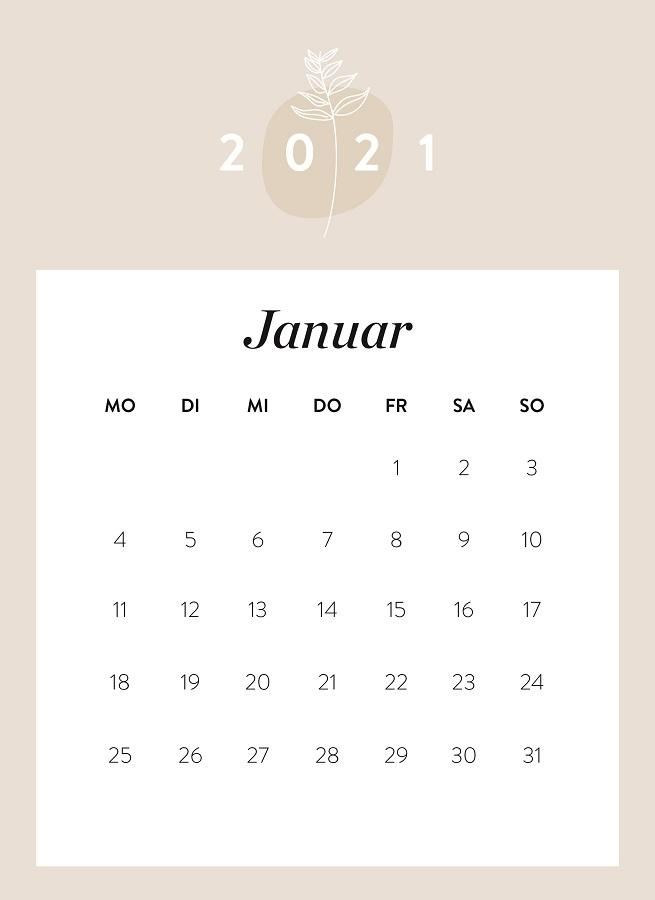 Monatskalender Januar 2021