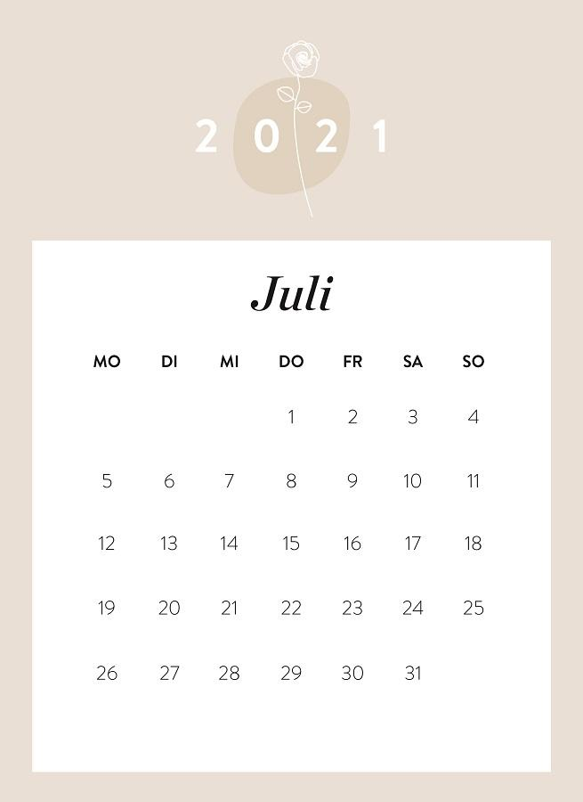 Monatskalender Juli 2021