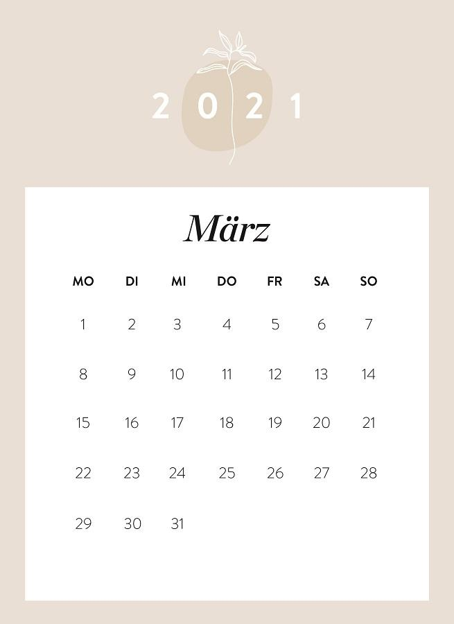 Monatskalender März 2021
