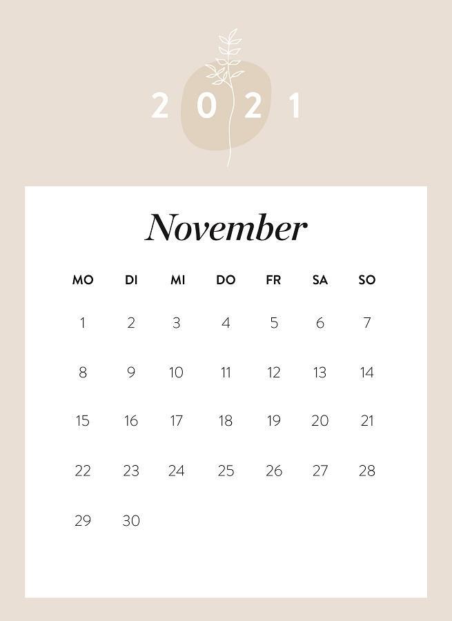 Monatskalender November 2021