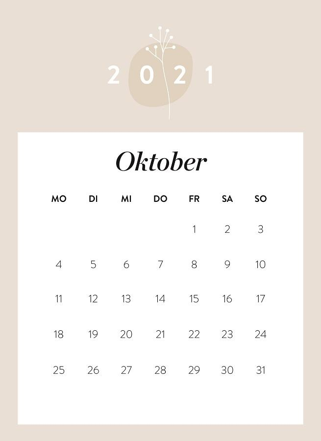 Monatskalender Oktober 2021