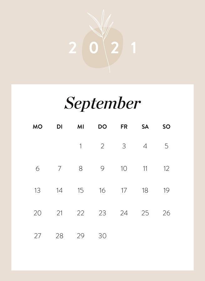 Monatskalender September 2021