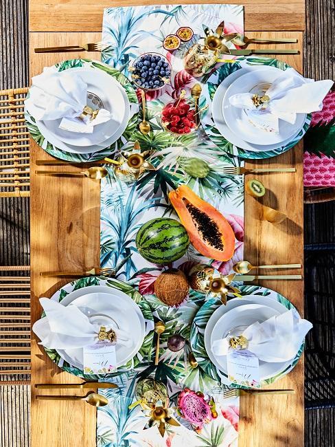Tischdeko Sommerparty tropisch Gruen Obst