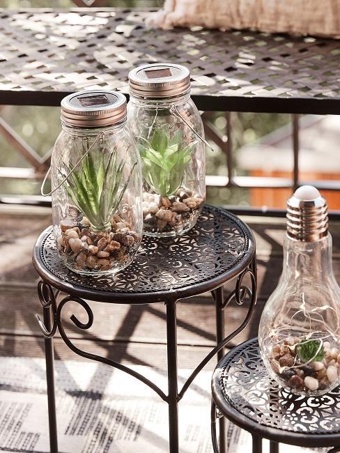 Sonnenglas als Gartentisch Deko