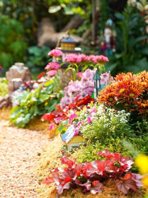 Schönes Blumenbeet im Garten