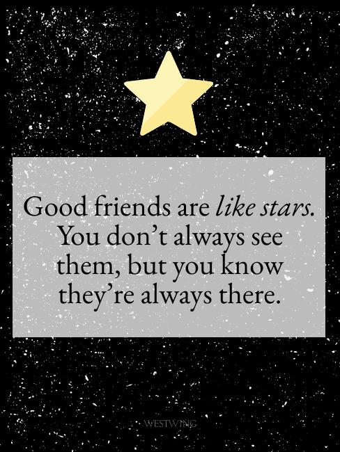Bild mit Sternenhimmel und Freundschaftsspruch auf Englisch