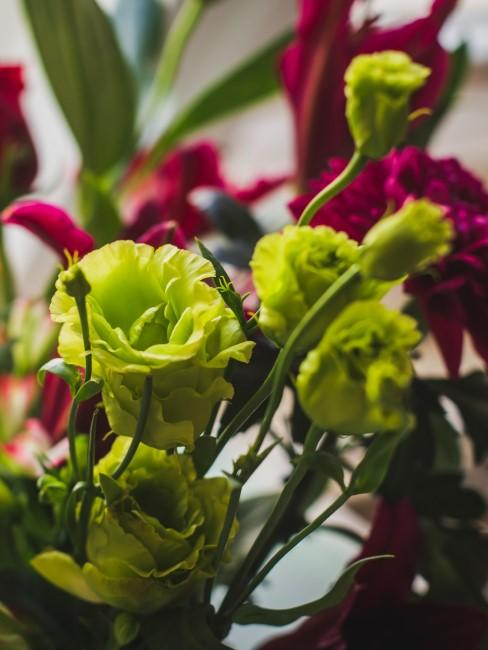 Blumenstrauß mit roten und grünen Blumen