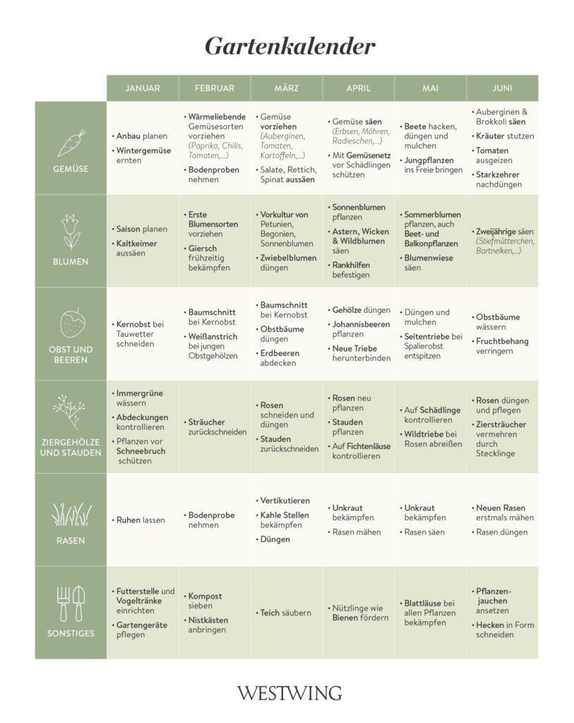 Gartenkalender für die Gartenarbeit im Winter