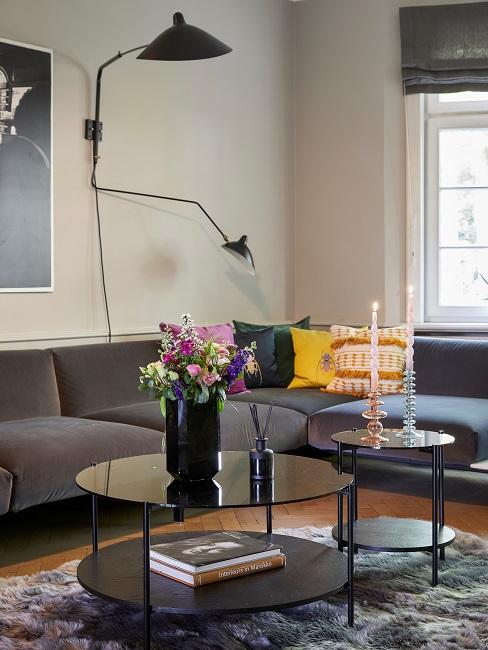 Retro New Modern Style Wohnen mit Samt Wohnzimmer Sofa