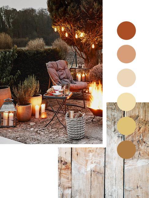 Feuerstelle im Garten mit Gartenstuhl in Herbstfarben