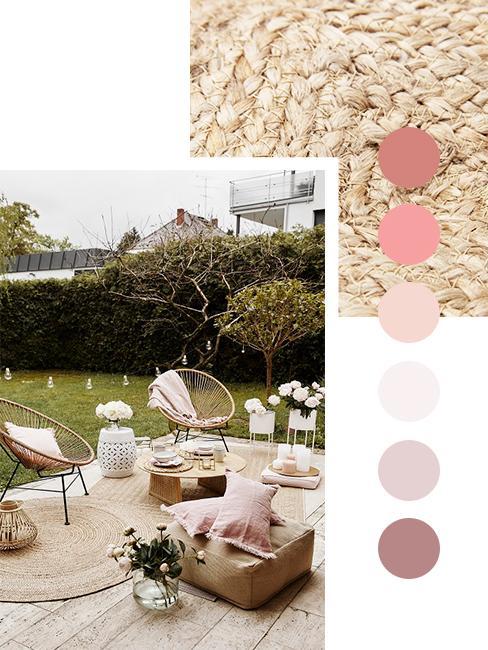 Sitzecke auf Terrasse in Herbstfarben