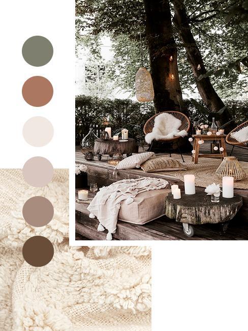 Sitzecke im Garten mit Herbstfarben