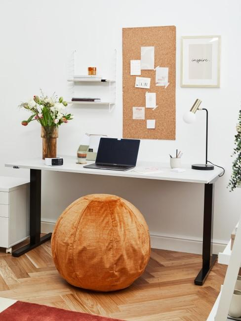 Arbeitszimmer mit Sitzball in Orange