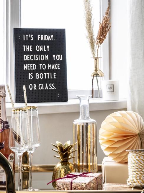 Trinkspruch auf Letterboard