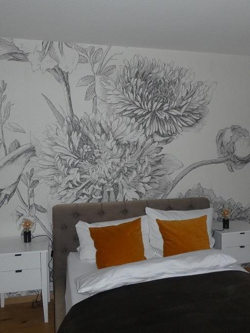 Interior Design Service Schlafzimmer 2 Nachher romantisch Blumen Tapete