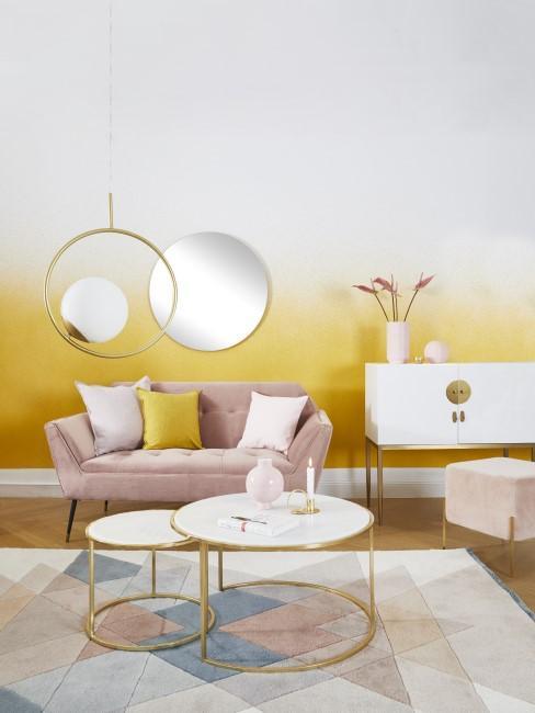 Gelb Rosa Einrichtung im Wohnzimmer