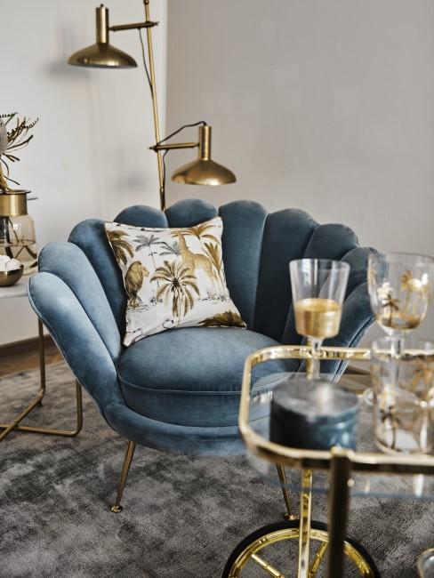 Art Déco Wohnzimmer mit Sessel aus Samt