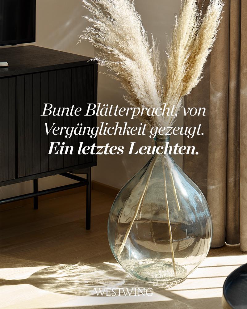 Bild mit Pampasgras und Vase mit Herbstspruch