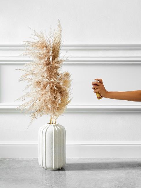 Pampasgras in Vase wird mit Farbe besprüht
