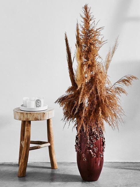 Große dunkle Vase mit Pampasgras
