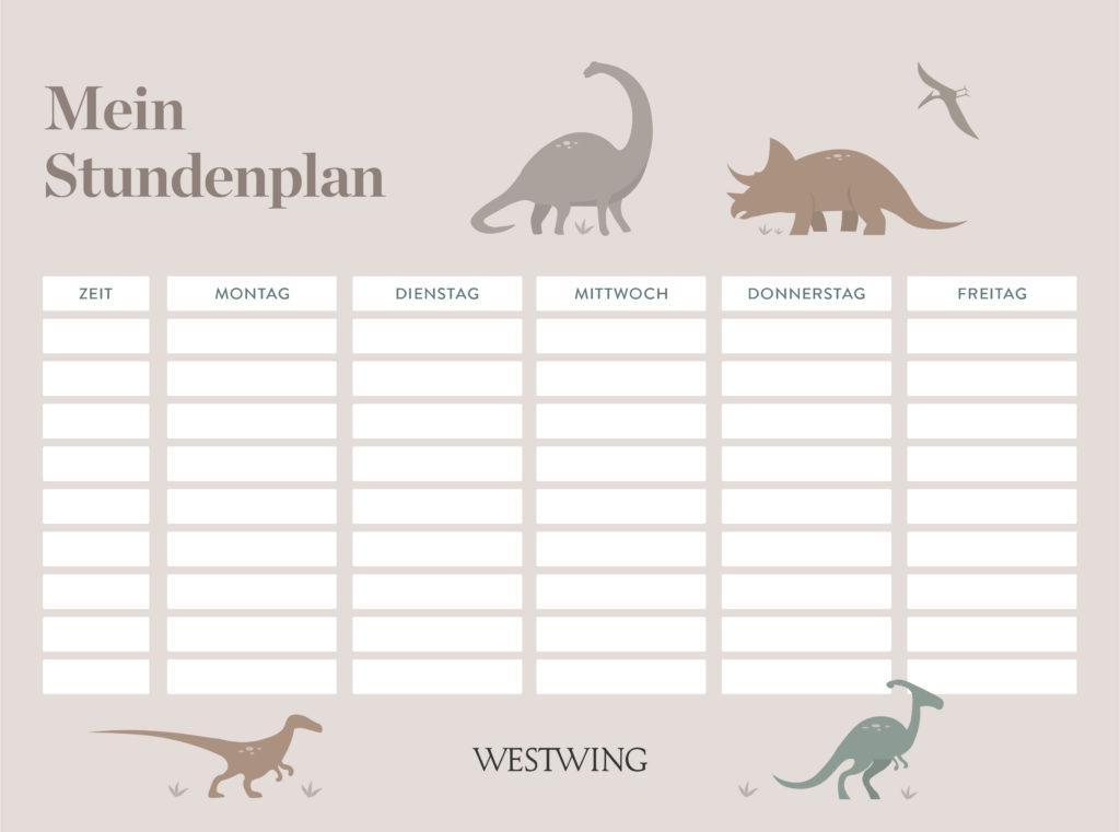 Stundenplan Vorlage mit Dinos