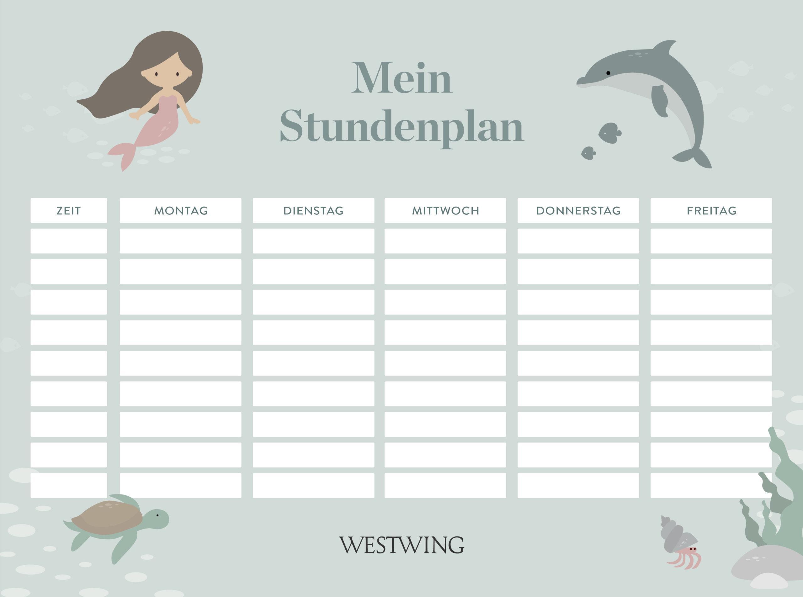 Stundenplan Vorlage mit Meerjungfrau und Delfin