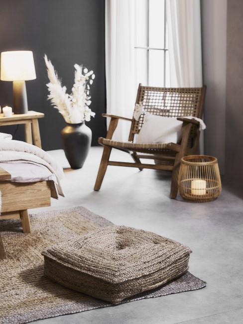 Schlafzimmer mit Naturmaterialien