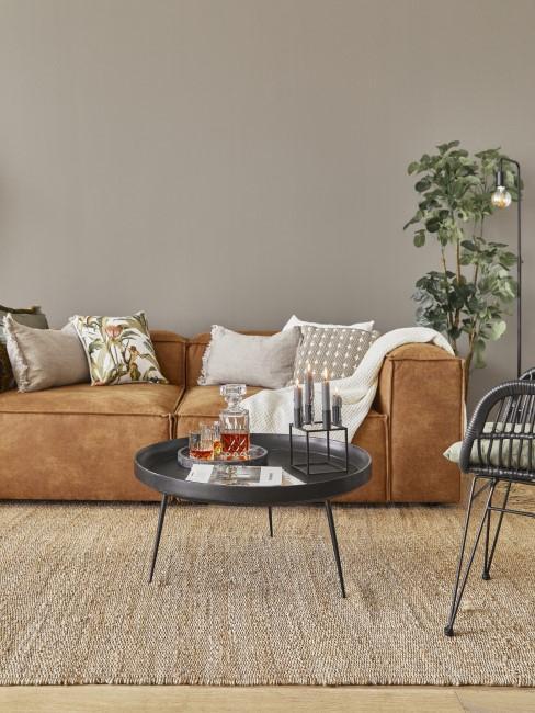 Braun mit Taupe kombinieren im Wohnzimmer