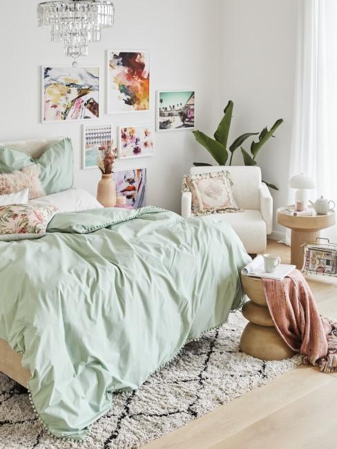 Mint und Rosa fürs Schlafzimmer