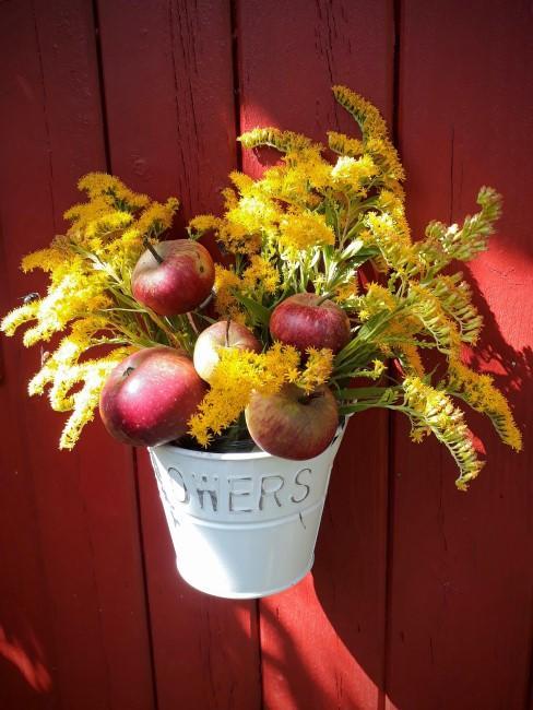 Herbstblumen-Arrangement mit Äpfeln im Topf
