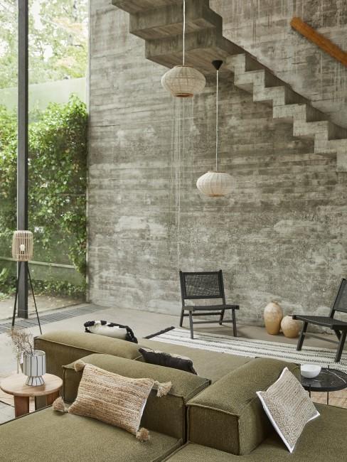 Boho Style Wohnzimmer mit Erdfarben