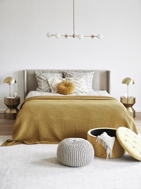 Ockergelb als Erdfarbe im Schlafzimmer