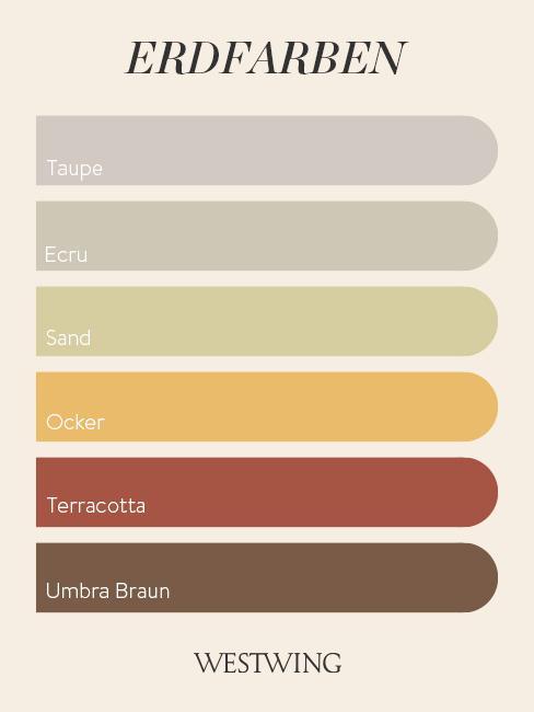 Farbpalette mit schönen Erdfarben