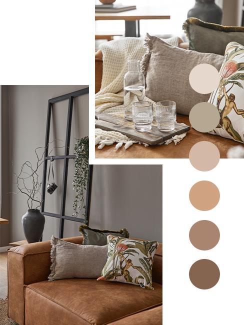 Taupe Farbpalette mit Naturfarben wie Braun
