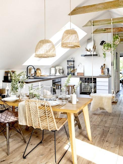 Küche und Essbereich im Boho Style
