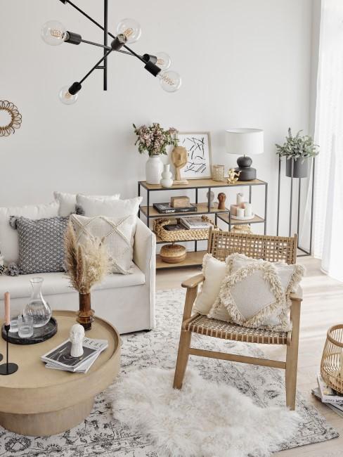 Naturmaterialien im Wohnzimmer gestalten